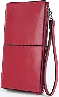 BIG SALE- 50% OFF- YALUXE Women's Leather Clutch Checkbook Wallet with Wrist Strap Fit iPhone6 Plus/Samsung Galaxy S4 (Gift Box) Rose Pink