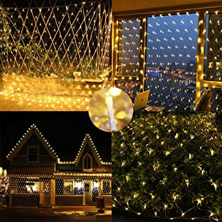Battery Powered Net Lights,4.9ft x 4.9ft 100 LED Net Mesh Tree-wrap Lights Ambience Decorative Fairy Lights String for Balcony Deck Yard Pergola Gazebo Xmas Tree - [Remote,8 Mode,Timer] (Warm White)