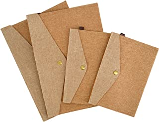 4pcs Wool Felt Snap Button Document File Holder Filing Envelope for Archives, Resumes,Files and Papers,School Home Office(Brown)