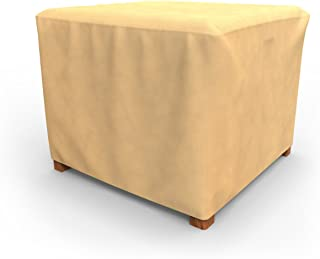 """Budge All-Seasons 22"""" Square Outdoor Side Table/Ottoman Cover P4A05BG1 褐色 20 x 22 x 22-Inch"""