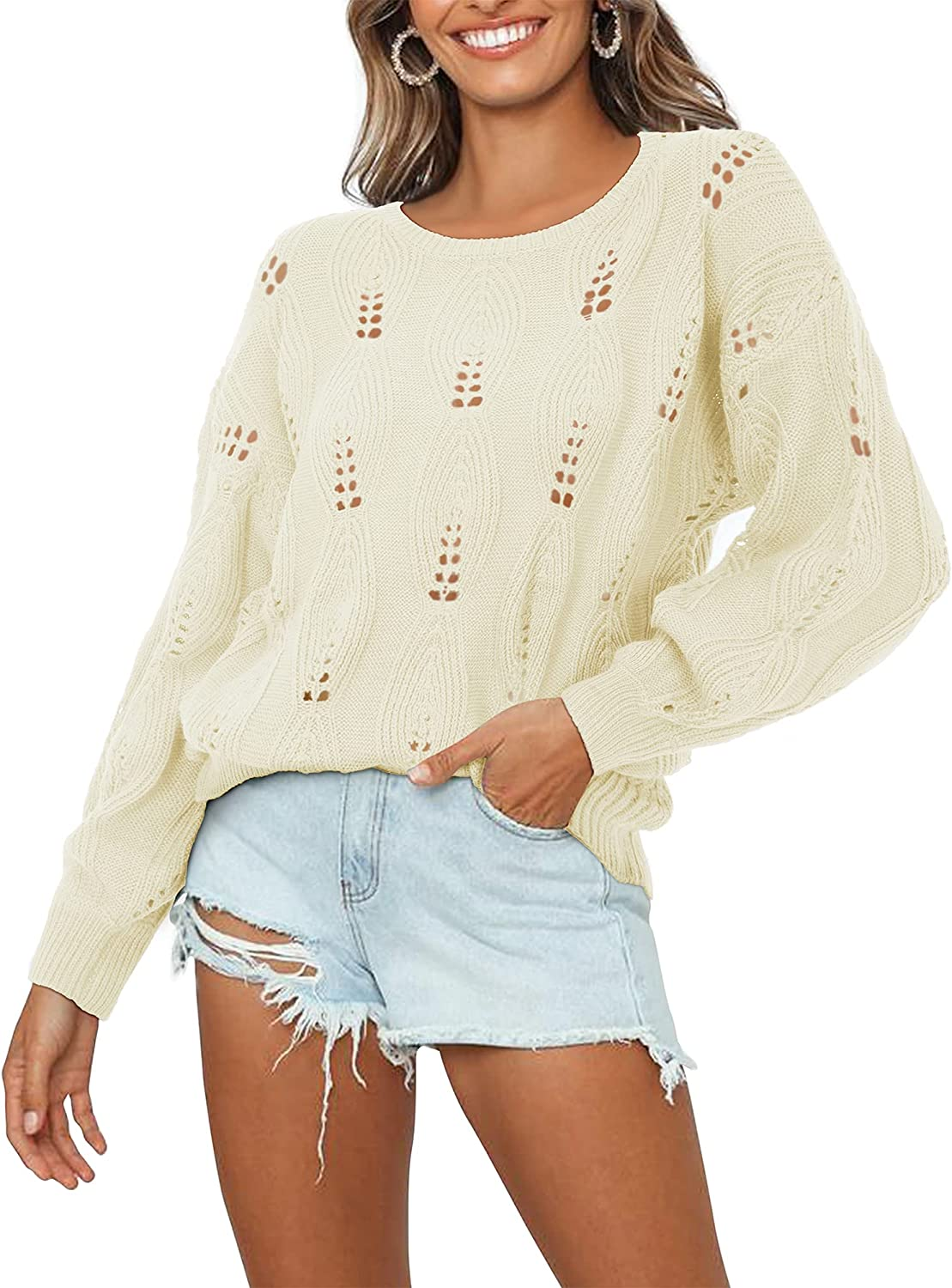 OUGES Women's Sweater Casual Crewneck Long Sleeve Cable Knit Tops Loose Pullover