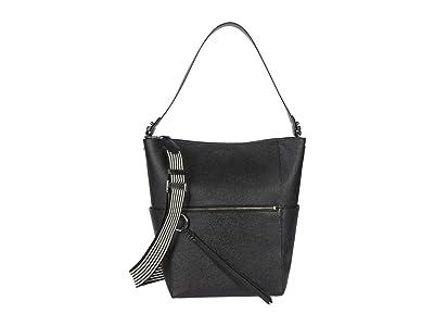Rebecca Minkoff Gabby Hobo w/ Webbing Strap (Black) Handbags