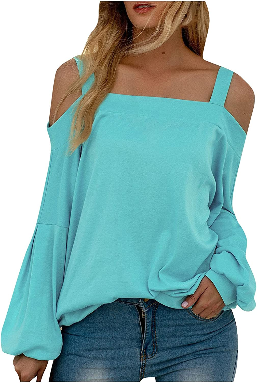 Olivcker Women Cold Shoulder Tops Strapless Sexy Sling Long Sleeve Solid Color Casual Loose Fashion Breathable Blouses