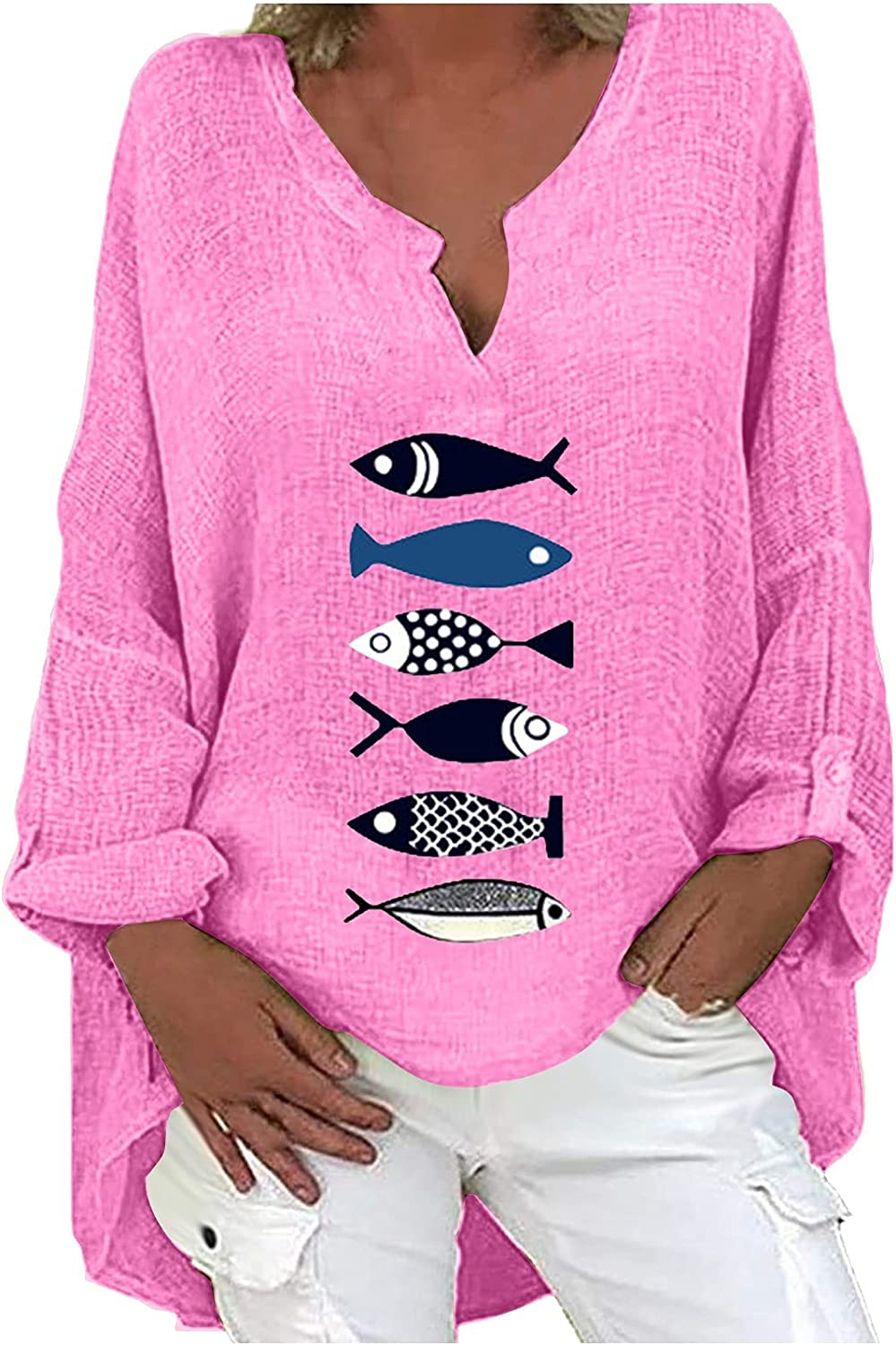 Sweatshirts Tops for Women Cute Fish Graphic Shirts Long Sleeve V-Neck T-Shirts Button Linen Blouse Comfy Soft Tees