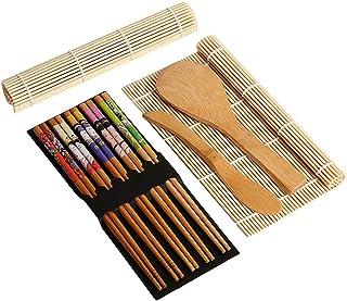 ?Sushi Que Hace el Kit?,BRone Bambú Sushi Kit de fabricación 2 Pcs Natural Bambú Sushi Balanceo Esteras 1 Pcs Cuchara de Arroz 1 Pcs Esparcidor de Arroz 5 pares Palillos