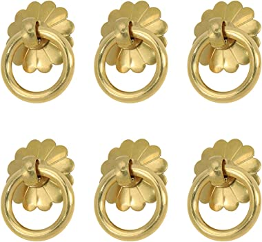 Quluxe 6 Pcs Antique Brass Ring Pulls, 1 Inch Brass Drawer Pulls Handle for Kitchen Cabinets Wardrobe Drawer, Vintage Style P