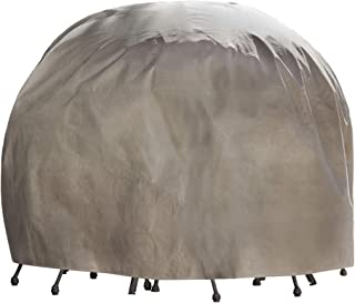 Duck Covers Elite Round Patio Table & Chair Set Cover with Inflatable Airbag to Prevent Pooling, 90-Inch