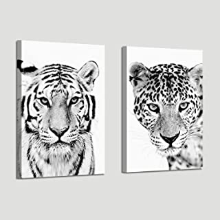 Tiger Canvas Pictures Wall Art: Black & White Wildlife Portrait Artwork Print on Wrapped Canvas for Bedrooms Home Office (16'' x 12'' x 2 Panels)