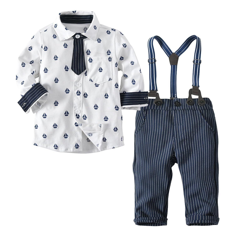ANKECHANG 幼児スーツ ワイシャツ 長袖 ロングパンツ フォーマル サスペンダー ネクタイ セット 男の子 子供 size 80 (ヨット柄)