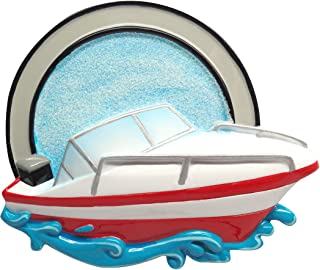 Personalized Speed Boat Christmas Tree Ornament 2019 - Red White Motorboat Hits The Water Powerboat Ride Race Sport Porsche Hobby Waterski Fast Glitter Mastercraft Gift Year - Free Customization