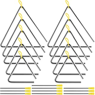 ZEONHAK 10 Pack 5 Sizes Musical Steel Triangle Percussion Instrument with Striker, Triangle Music Instrument, Triangle Han...