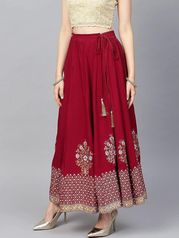 Rayon Skirt for Women Dress Wide Leg Elastic Waist Flared Long Maxi Free Size