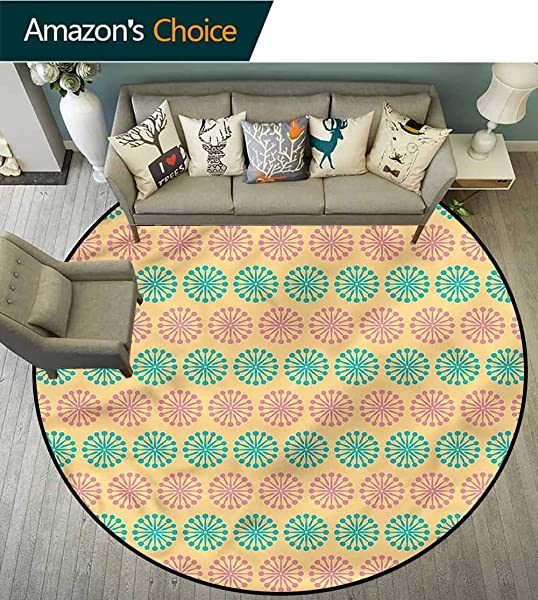 RUGSMAT Eastern Computer Chair Floor Mat Ethnic Geometric Floral Lifts Basket Swivel Chair Pad Coffee Table Rug Diameter 24