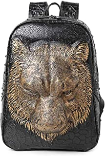 Pu Backpack Portable Backpack 3D Tiger Head Waterproof Outdoor Travel Computer Bag 1,Gold
