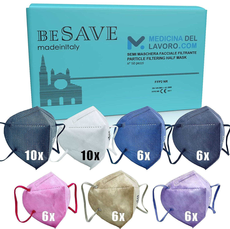 50 Mascarillas FFP2/KN95 Colores Homologadas de Certificación CE de 4 Capas, Máscara Protectora de Polvo y Partículas, Mascarilla de Protección Personal con Filtros de Calidad BFE≥95, 50 Pz