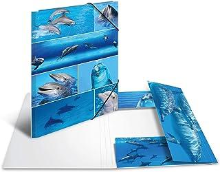 HERMA 19221 Carpeta de dibujo Animales con motivo de Delfines, A3, cartón resistente, con impresión interior, carpeta de 1...