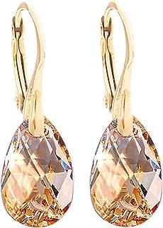 704a768a8ef3 Women s 16mm Golden Shadow Crystals From Swarovski® Drop Pear Earrings.  Genuine Vermeil  24K