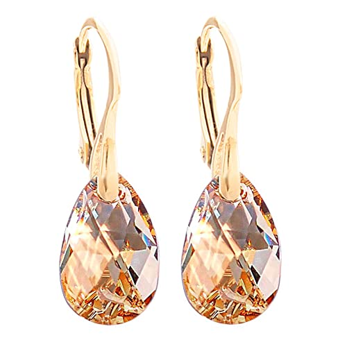 Women s 16mm Golden Shadow Crystals From Swarovski® Drop Pear Earrings.  Genuine Vermeil  24K c367eebd2