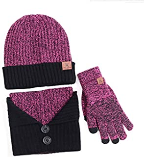 ZZLAY Winter Warm Knit Hat+Scarf+Touch Screen Gloves,Unisex Slouchy Warm Snow Skull Thick Beanie 3 Pieces Knitted Set