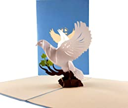 iGifts And Cards Inspirational White Dove with Olive Branch 3D Pop Up Greeting Card - Peace, Religious, Faith, Christian, Half Fold, Priest Ordination, Wedding, Confirmation, First Communion, Sympathy