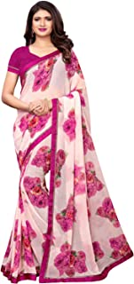 KANCHNAR Women's Chiffon Printed Saree with Unstitched Blouse(985S145;Pink;Floral Print)