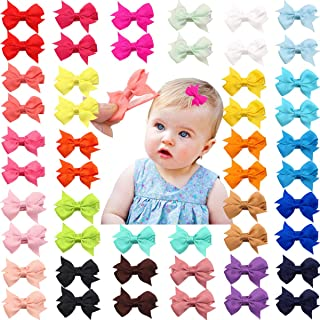 "50 Pieces 25 Colors in Pairs Baby Girls Fully Lined Hair Pins Tiny 2"" Hair Bows Alligator Clips for Little Girls Infants T..."