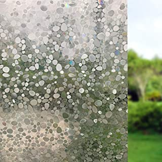 3D Decorative Frosted Sidelight Window Film Privacy Static Cling Removable 17.7X78.7Inch Shower Door Privacy Film for Window Stained Glass Bathroom Privacy Film for Front Sliding Glass Door Film