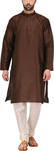 Royal Tag 7 Hommes's Blended Kurta Pyjama 42 marron & blanc