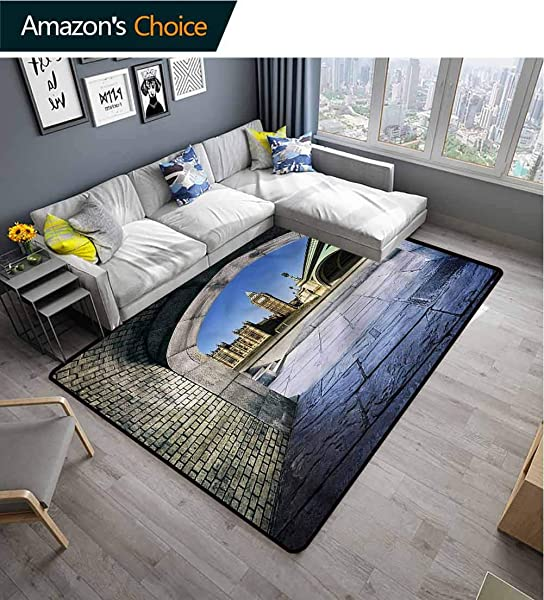 TableCoversHome London Shag Area Rug Door Mat Big Ben Through A Tunnel Pattern Printing Rugs Durable Carpet Area Rug Living Dinning Room Bedroom Rugs And Carpets 5 X 8