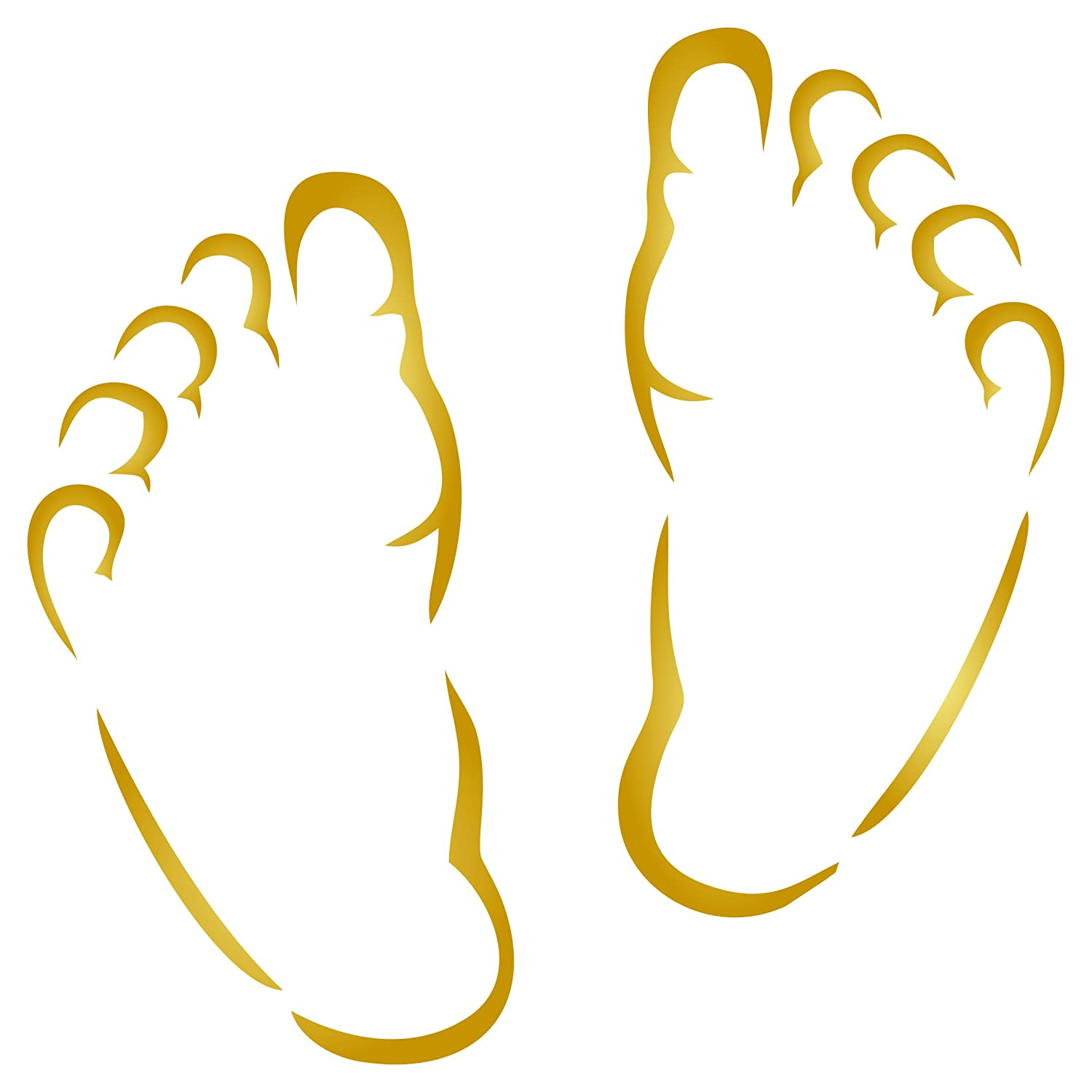 Baby Feet Stencil - 6.5 x 6.5 inch (L) - Reusable New Born Babies Child Boy Girl Wall Stencils for Painting - Use on Paper Projects Walls Floors Fabric Furniture Glass Wood etc.