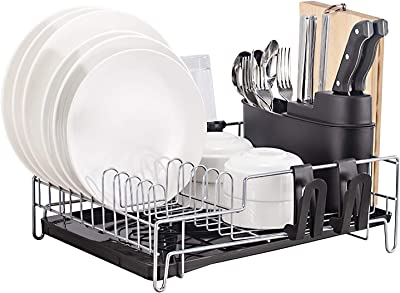 GMISUN Dish Drying Rack with Drainboard, Study Sink Side Small Draining Dish Rack, Large Capacity Dish Drainer W/Knife & Utential Holder and Cup Holders for Kitchen Countertop
