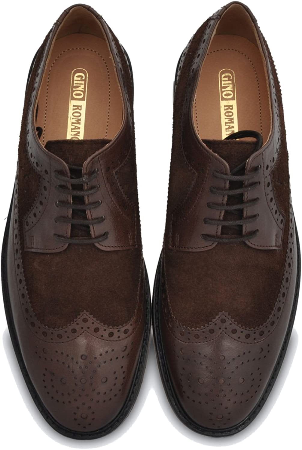 Gino Romano Brogue shoes for Men - Full Grain Smooth Leather and Imported silverinian Leather Sole