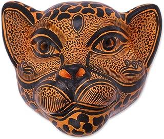 NOVICA 331789 Watchful Jaguar Ceramic Mask, Black