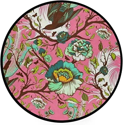 Birds Pinl Area Rug Round Non-Slip Carpet Living Room Bedroom Bath Floor Mat Home Decor (3 Feet Round)