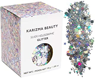 Silver Holographic Chunky Glitter ✮ Large 30g Jar KARIZMA BEAUTY ✮ Festival Glitter Cosmetic Face Body Hair Nails
