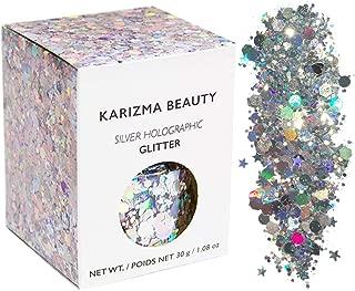 Silver Holographic Chunky Glitter ✮ Large 30g Jar KARIZMA BEAUTY ✮ Festival Glitter Cosmetic Face Body Hair Nails