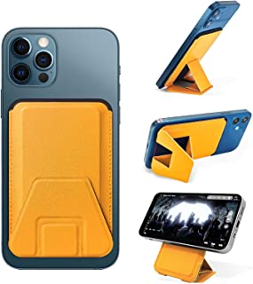 Meeraha Magsafe カードケース スタンド 折り畳み式 マグネット スマホ ホルダー マグセーフ iPhone12 スマートホン スタンド 複合材質 磁気増強 角度調節 薄型 軽量(黄)