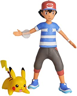 """Pokemon 4.5"""" Battle Feature Action Figure, Features Ash and Launch into Action 2 inch Pikachu"""