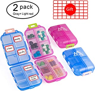 2 Pack Couple Travel Pill Case for Purse, 10 Compartments, Portable Small 7-Day Weekly Travel Pill Organizer Portable Pocket Pill Box Dispenser Pill Holders for Traveling (Blue + Light Red)