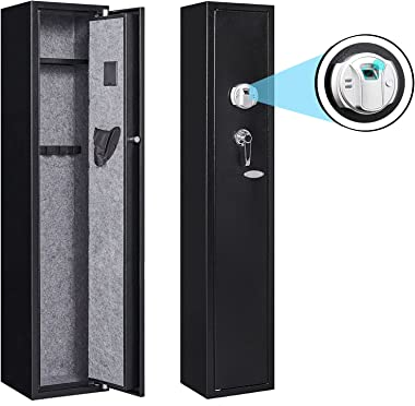 KAER Gun Safe for Rifles and Pistol with Biometric Fingerprint Quick Access Electronic Firearm Security Safe with Pistol Bag