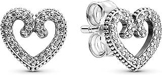 Pandora Jewelry Heart Swirls Cubic Zirconia Earrings in Sterling Silver