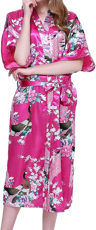 XUETON Womens Floral Printed Midi Robe Kimono Satin Sleepwear with 3/4 Sleeve Nightgown Nightwear