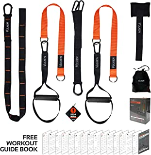Vulken BodyWeight Exercise Straps, CoreSlings Basic Home Gym Kit Full Body Resistance Workouts Trainer for Travel, and Outdoors, Core Workout Fitness Tools Including Workout Guide Book.