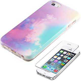 iPhone SE 5S 5 Protective case Ucolor Abstract Cloud for iPhone SE 5S 5 Dual Layer Protection Tough Case with Slim Tempered Glass Screen Protector
