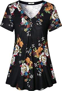 Viracy Women's Short Sleeve V-Neck Casual Flowy Tunic Shirt