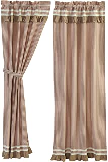 VHC Brands Classic Country Farmhouse Window Kendra Stripe White Curtain Panel Pair, Red