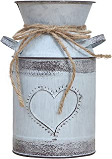 Soyizom Decorative Vase with Unique Heart-Shaped and Rope Design,Galvanized Finish- Rustic Decorated for Living Room, Bedroom, Kitchen - Grayblue