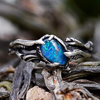 Large Boulder Opal Ring Sterling Silver Size 6 Boulder Opal Stone Boulder Opal Jewelry Reiki Healing Crystals and Stones