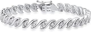 Dazzlingrock Collection 1.15 Carat (ctw) Round White Diamond Ladies Tennis Bracelet, Sterling Silver