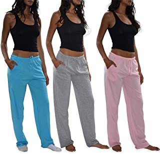 Sexy Basics Women's 3 Pack Soft Flex-Cotton Knit Pajama Pants/Lounge Pants/Sleep Pants